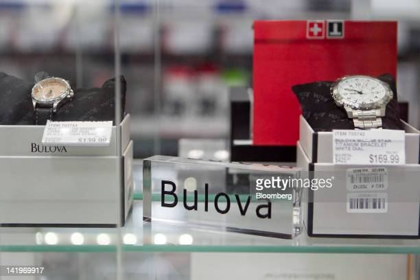 Bulova Corp watches sit on display at a BJ's Wholesale Club Inc store in Falls Church Virginia US on Tuesday March 27 2012 The US Bureau of Economic...