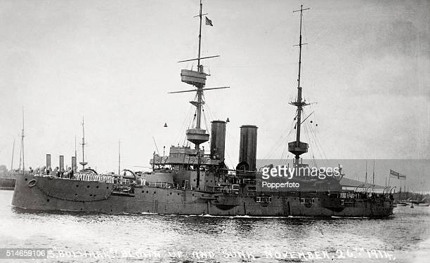 HMS Bulwark once captained by Robert Falcon Scott and blown up by acccident in 1914 with the loss of 738 men during World War One circa October 1914