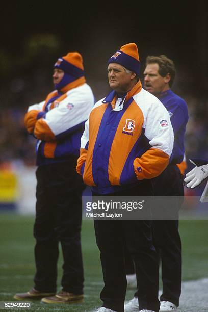 Bum Phillips head coach of the Denver Broncos during a NFL football game against the Cleveland Browns on November 7 1993 at Cleveland Municpal...