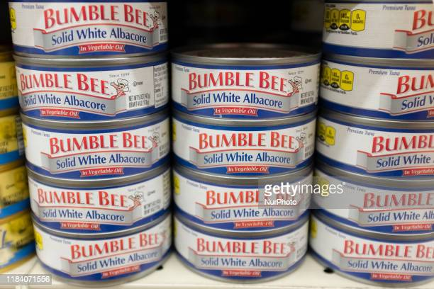 Bumble Bee albacore cans can be seen at a store in Mountain View, California, United States on Friday, November 22, 2019. Bumble Bee Foods said...