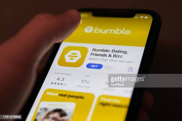 Bumble dating app logo on the App Store is seen displayed on a phone screen in this illustration photo taken in Poland on February 21, 2021.