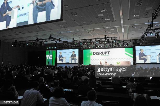 Bumble Founder and CEO Whitney Wolfe Herd and moderator Fitz Tepper speak onstage during Day 2 of TechCrunch Disrupt SF 2018 at Moscone Center on...