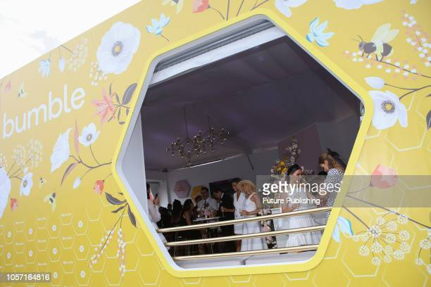 Bumble marquee and guests enjoying Derby Day at the 2018 Melbourne Cup Carnival