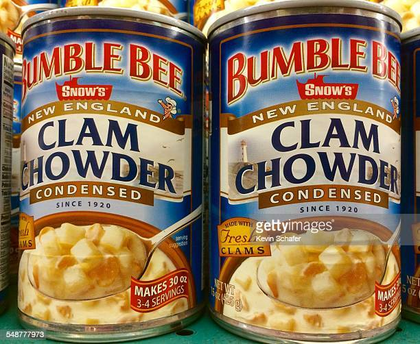 Bumblebee brand New England style Clam Chowder prepared soup in a can traditional American meal