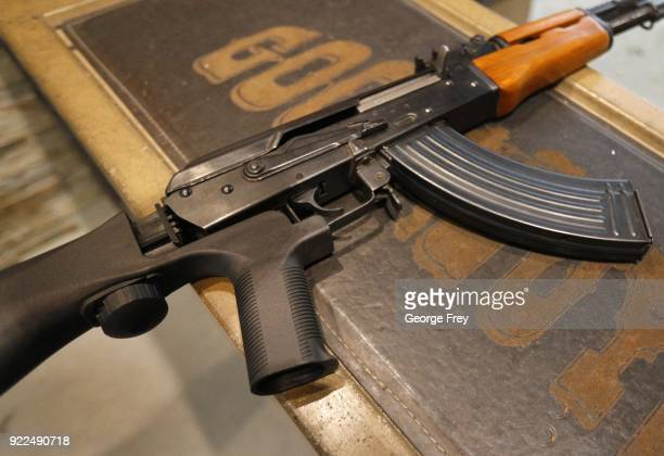 A bump stock is installed on an AK47 with a 30 round magazine at Good Guys Gun and Range on February 21 2018 in Orem Utah The bump stock is a device...