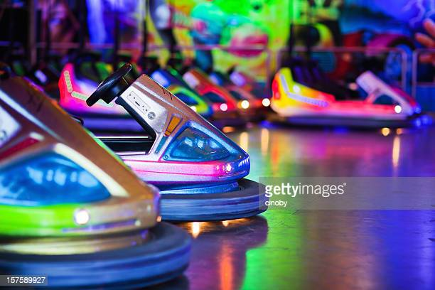 bumper cars - green car crash stock pictures, royalty-free photos & images