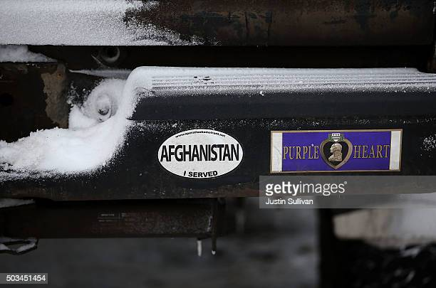 Bumper stickers are displayed on the bumper of an antigovernment militia members truck at the entrance to the Malheur National Wildlife Refuge...