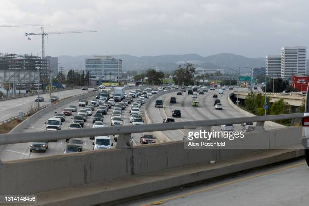 Bumper to bumper traffic is seen on the 405 freeway amid the coronavirus pandemic on April 23, 2021 in Los Angeles, California. Los Angeles County...