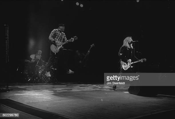 Bun E Carlos Rick Nielsen and Robin Zander of Cheap Trick performs at the Target Center on November 211990 in Minneapolis Minnesota in 1990