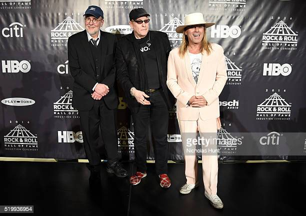 Bun E Carlos Robin Zander and Rick Nielsen of Cheap Trick attend the 31st Annual Rock And Roll Hall Of Fame Induction Ceremony at Barclays Center on...