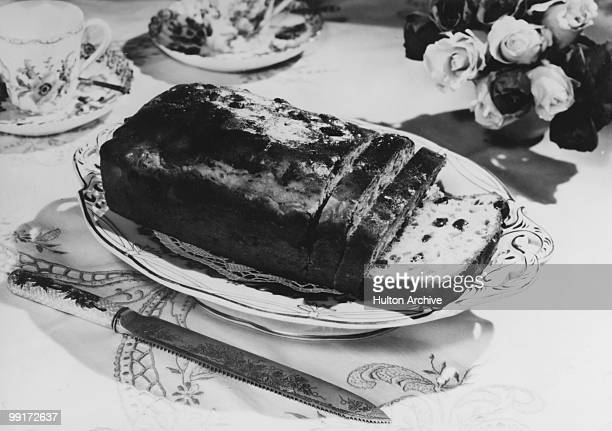 A bun loaf filled with dried fruits circa 1955