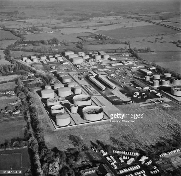 Buncefield Oil Depot near Hemel Hempstead in Hertfordshire, during the 1973 oil crisis, UK, November 1973.