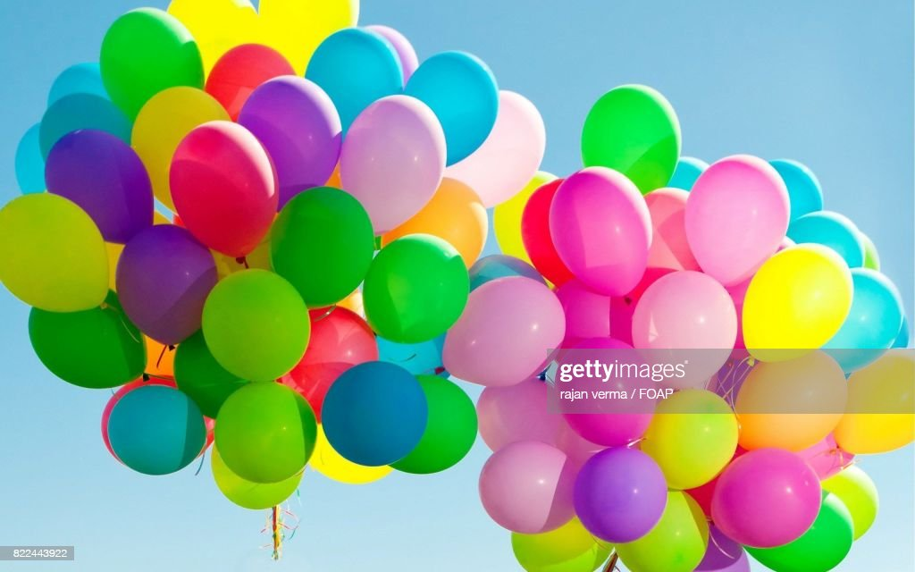 Bunch of balloon in mid air : Stock Photo