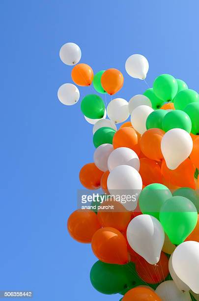 Bunch of Balloons in clear blue sky
