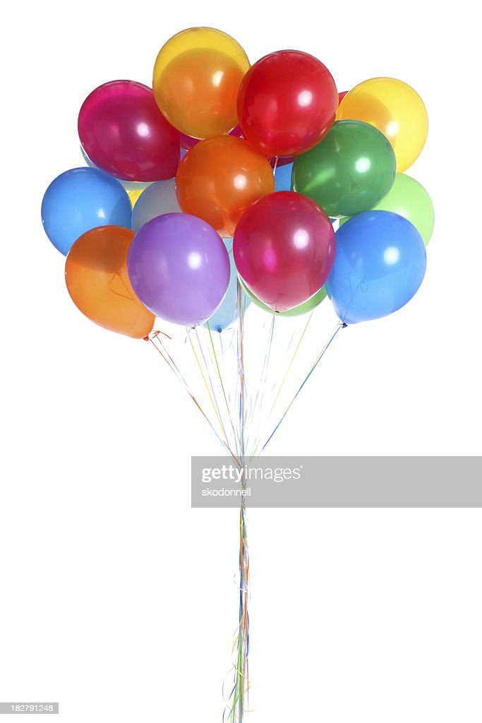 Bunch of Balloons Isolated on White : Stock Photo
