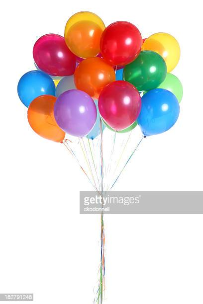 bunch of balloons isolated on white - bunch stock pictures, royalty-free photos & images