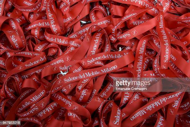 A bunch of branded lanyards are seen during the Salone Internazionale del Mobile at Fiera di Rho on April 17 2018 in Milan Italy Every year Salone...