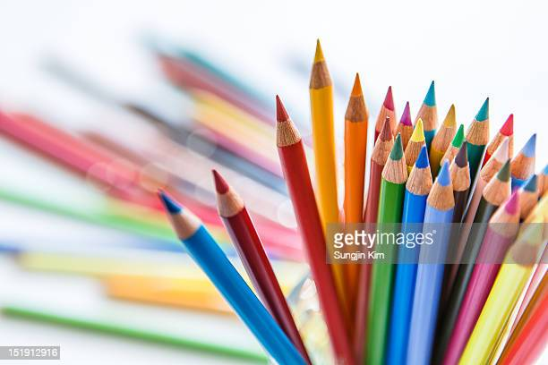 bunch of color pencil - sungjin kim stock pictures, royalty-free photos & images