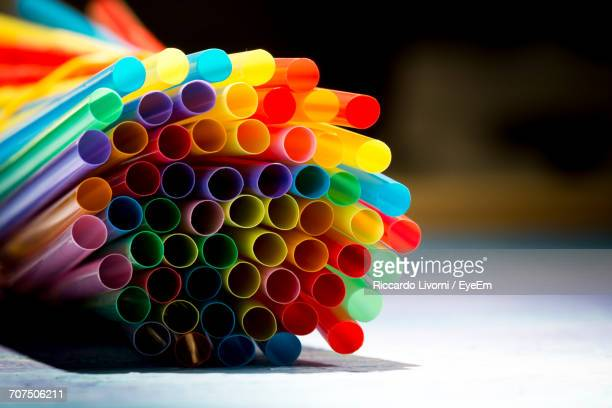Bunch Of Colorful Drinking Straws On Table