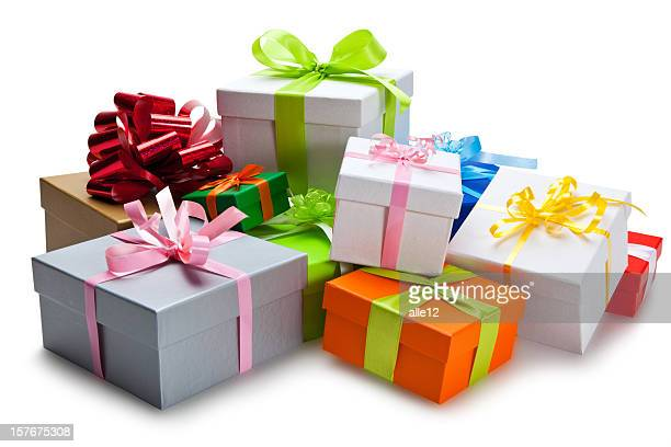 Bunch of colorful gifts stacked on each other