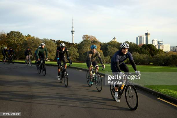 A bunch of cyclists ride through Auckland Domain on May 14 2020 in Auckland New Zealand New Zealand moves to COVID19 Alert Level 2 in three stages...