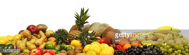 Bunch of Fruit on White Background
