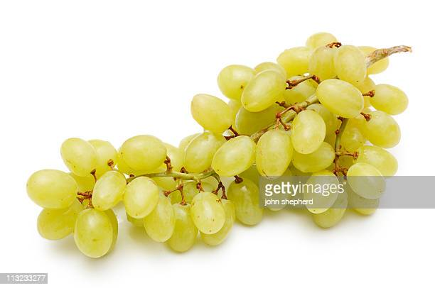 bunch of  grapes isolated against white - white grape stock photos and pictures
