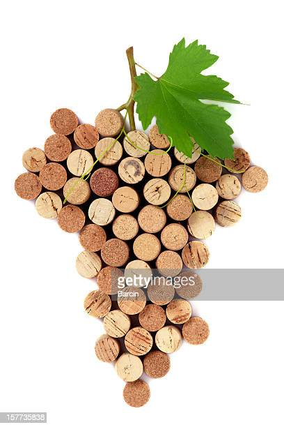 bunch of grapes shape made with corks - bottle stopper stock photos and pictures