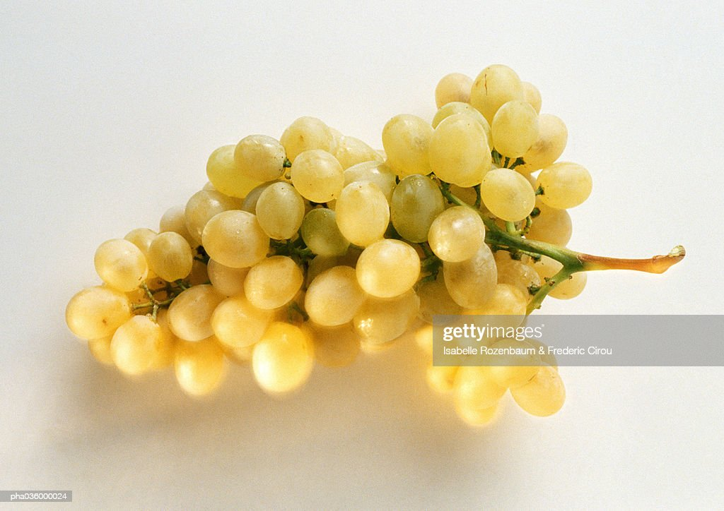 Bunch of green grapes, close-up, white background : Stockfoto
