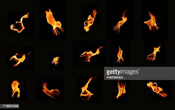 a bunch of icons of fire on a black background - fire natural phenomenon stock pictures, royalty-free photos & images