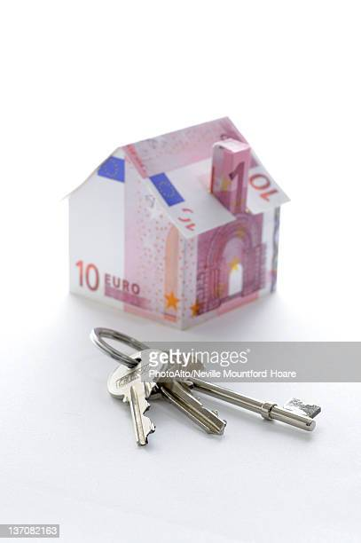 Bunch of keys and model house folded with Euro banknotes
