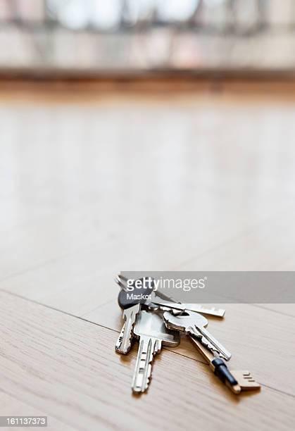 Bunch of keys lying on floor