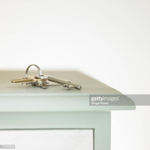 Bunch of keys on side board