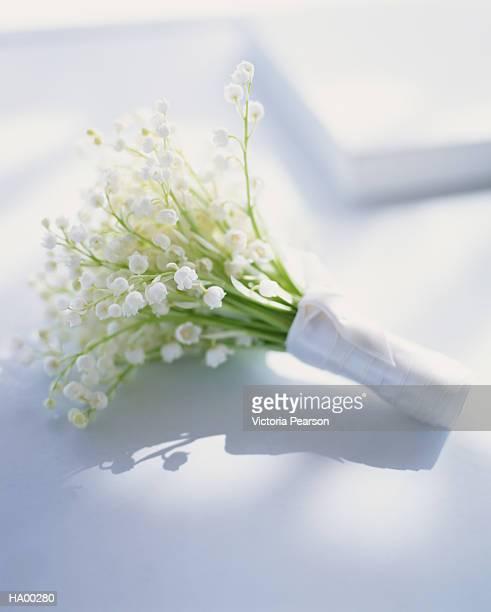 bunch of lily of the valley (convallaria majalis), close-up - bouquet de muguet fotografías e imágenes de stock