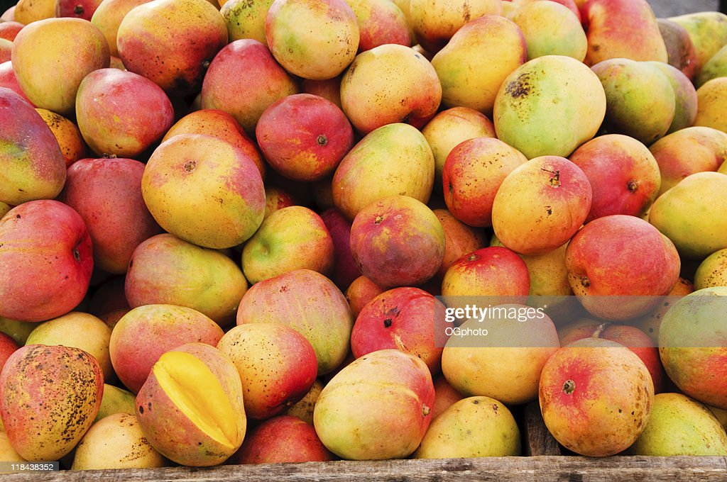 Bunch of mangoes at a fruit stand : Stock Photo