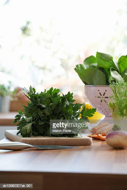 Bunch of parsley on kitchen counter