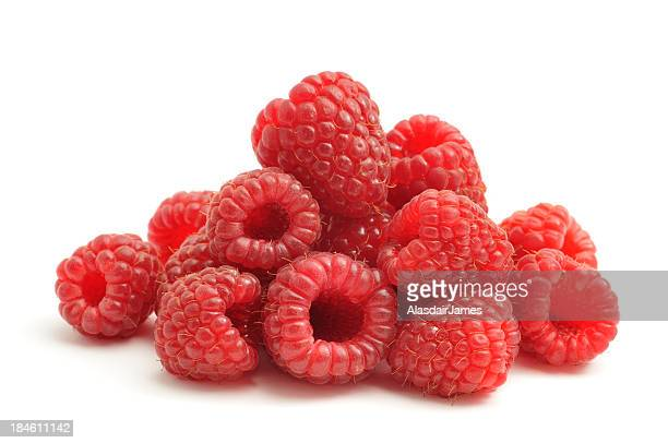 Bunch of raspberries on white background