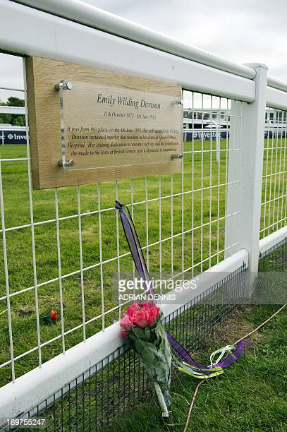 A bunch of roses sits below a plaque commemorating Emily Wilding Davison at Tattenham Corner at the Epsom Derby Festival in Surrey southern England...