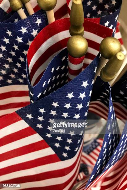 Bunch of small American flags on display for sale