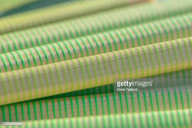 bunch of sticks with green stripes - dorte fjalland stock pictures, royalty-free photos & images