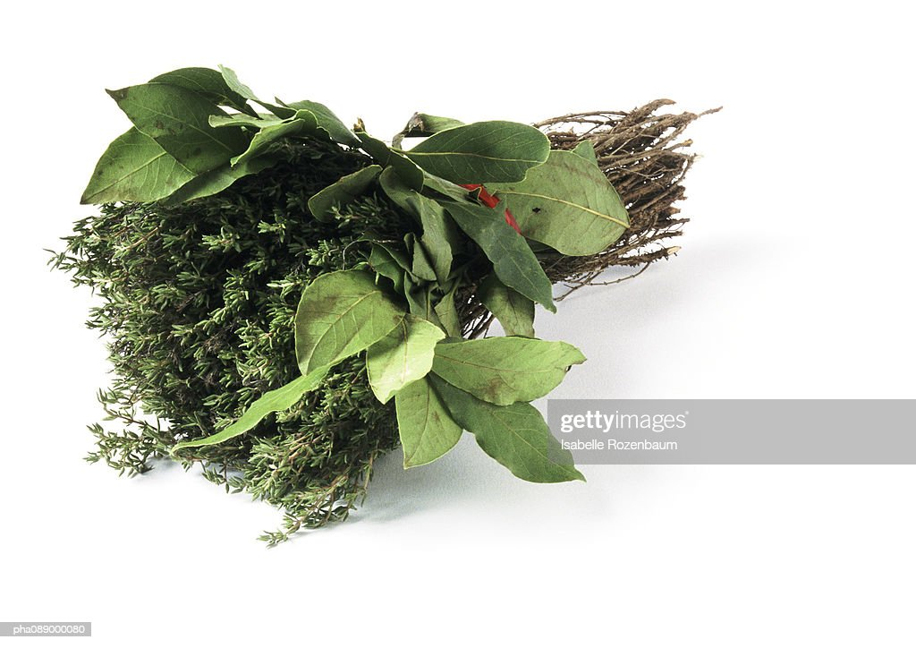 Bunch of thyme and bay laurel : Stockfoto