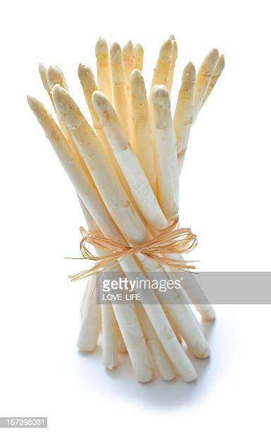 A bunch of white asparagus loosely tied with twine on white