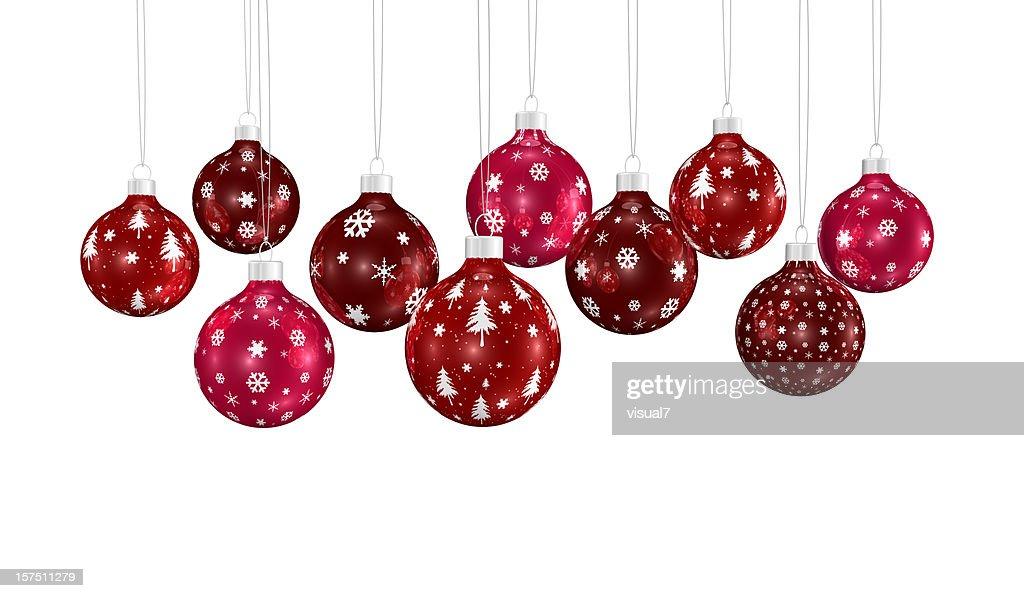 Haufen von Weihnachten Weihnachtsschmuck hängen auf einer Kette : Stock-Foto