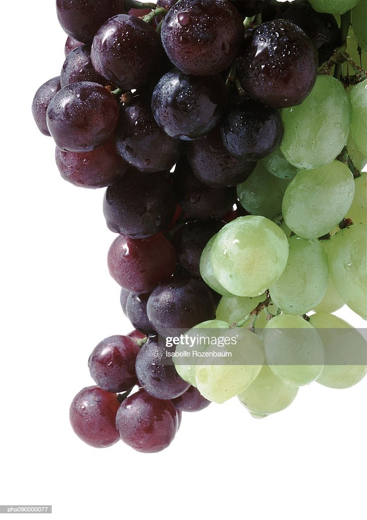 Bunches of black and white grapes, white background : Stockfoto