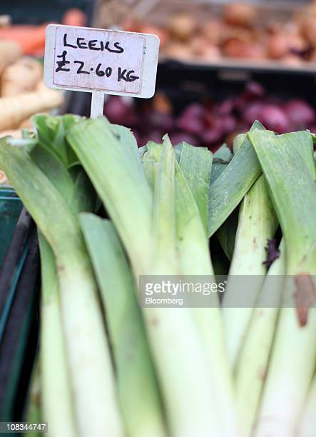 Bunches of leeks sit on display at a farmer's market in London UK on Wednesday Jan 26 2010 Rising food costs threaten economic growth and are...