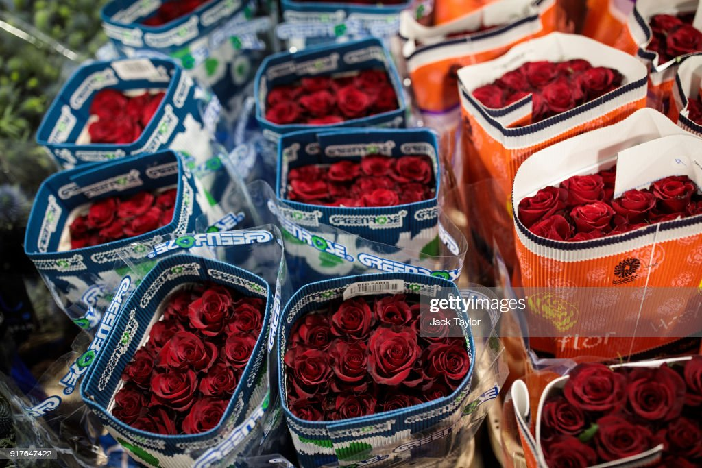 Bunches of roses on display at New Covent Garden Flower Market ahead of Valentine's Day on February 13, 2018 in London, England. New Covent Garden market is the largest wholesale fruit, vegetable, and flower market in the United Kingdom, supplying 75% of florists in London.
