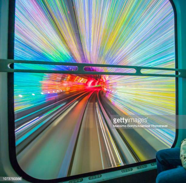 bund sightseeing tunnel, view from the train - image stock pictures, royalty-free photos & images