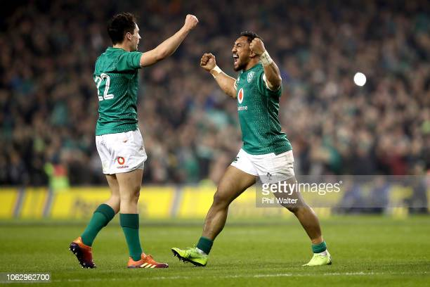 Bundee Aki and Joey Carbery of Ireland celebrate on full time during the International Friendly match between the New Zealand All Blacks and Ireland...