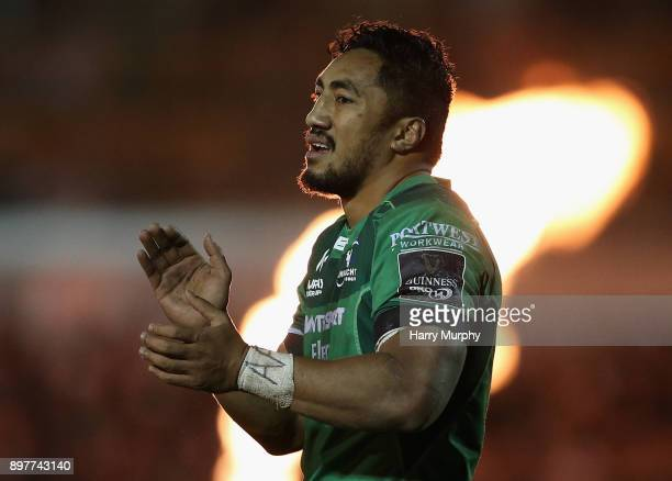 Bundee Aki of Connacht applauds during the Guinness PRO14 match between Connacht and Ulster at Sportsground on December 23 2017 in Galway Ireland