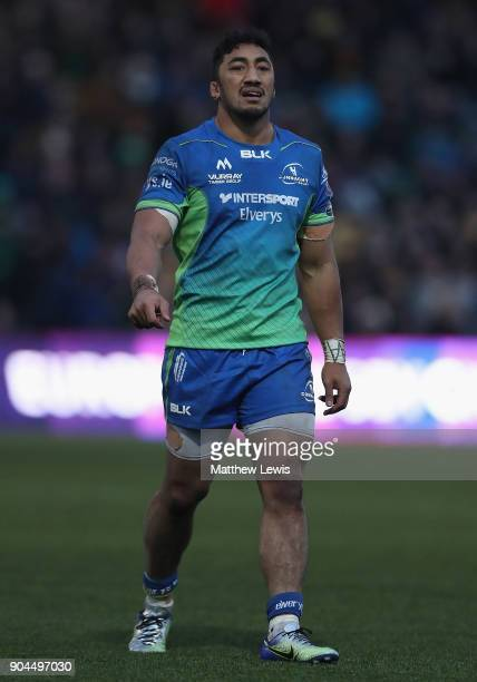 Bundee Aki of Connacht Rugby in action during the European Rugby Challenge Cup match between Worcester Warriors and Connacht Rugby on January 13 2018...